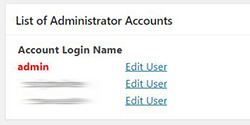 All In One WP Security & Firewall - User Accounts - WP Username - List of Administrator Accounts