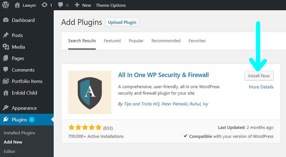 wordpress plugins add new All In One WP Security & Firewall