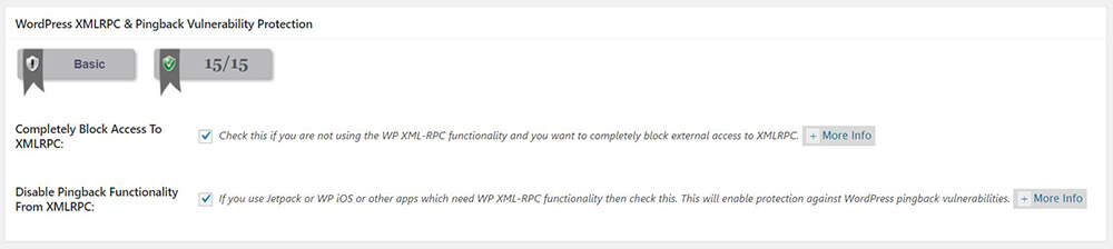 All In One WP Security & Firewall - Firewall - Basic Firewall Rules - Firewall Settings - WordPress XMLRPC & Pingback Vulnerability Protection